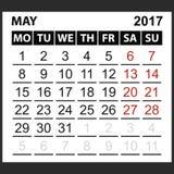 Calendario hoja mayo de 2017 Fotografía de archivo libre de regalías