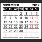 Calendario hoja noviembre de 2017 Fotos de archivo