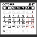 Calendario hoja octubre de 2017 Imágenes de archivo libres de regalías