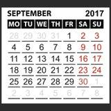 Calendario hoja septiembre de 2017 Imagen de archivo libre de regalías