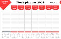 Calendario, horario y organizador del planificador 2018 de la semana para las compañías y el uso privado Foto de archivo libre de regalías