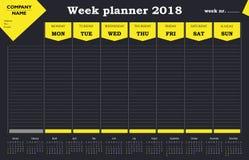 Calendario, horario y organizador del planificador 2018 de la semana para las compañías y el uso privado Imagen de archivo