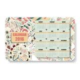 Calendario horizontal 2016 del color en el Zentangle Imagenes de archivo