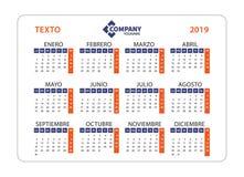 Calendario horizontal 2019 en español La semana empieza de lunes VE stock de ilustración