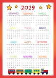 Calendario 2019 согласно с I Bambini 2019 стоковое фото