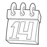 Calendario icono del 14 de febrero, estilo del esquema Fotografía de archivo