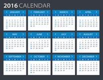 2016 calendario - illustrazione Fotografie Stock Libere da Diritti