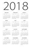 Calendario 2018 - illustrazione illustrazione di stock