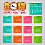 Calendario illustrazione di vettore di 2018 buoni anni Fotografia Stock
