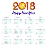 Calendario illustrazione di vettore di 2018 buoni anni illustrazione vettoriale