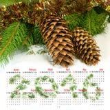 calendario 2016 Imagen de los conos de la Navidad en el primer de la nieve Foto de archivo libre de regalías