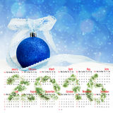 calendario 2016 Imagen del primer de las decoraciones de la Navidad Foto de archivo libre de regalías