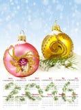 calendario 2016 Imagen del primer de las decoraciones de la Navidad Imágenes de archivo libres de regalías
