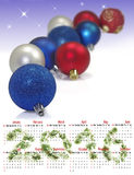 calendario 2016 Immagine del primo piano di molte palle di Natale Immagini Stock