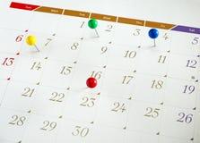 Calendario imminente di eventi immagini stock