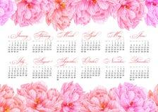 Calendario imprimible elegante 2019 Peonía rosada de la acuarela Placa botánica suculenta - abandone el cactus, el cactus del hig stock de ilustración