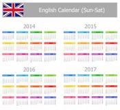 Calendario inglés 2014-2017 del tipo 1 Sun-Sat Foto de archivo
