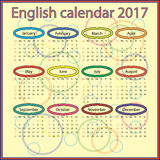 Calendario inglés 2017 Fotografía de archivo libre de regalías