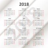 Calendario inglés 2018 Imágenes de archivo libres de regalías