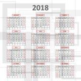 Calendario inglés 2018 Imagen de archivo
