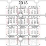 Calendario inglés 2018 Fotografía de archivo libre de regalías