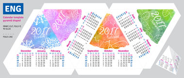Calendario inglés 2017 de la plantilla por la pirámide de las estaciones formada Imágenes de archivo libres de regalías