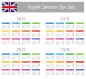 Calendario inglés 2015-2018 del tipo 1 Sun-Sat Fotos de archivo libres de regalías