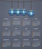 Calendario inglés elegante para 2015 en la textura de lino con los vaqueros TA ilustración del vector
