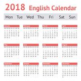 Calendario inglés europeo 2018 Imagenes de archivo