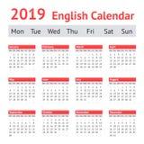 Calendario inglés europeo 2019 fotos de archivo libres de regalías