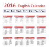 Calendario inglés europeo 2016 Comienzo de la semana el lunes Fotos de archivo libres de regalías