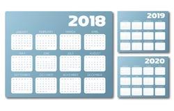 Calendario inglés 2018 vector del gris azul 2019 2020 Foto de archivo libre de regalías