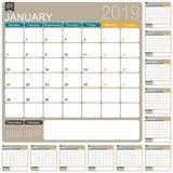 Calendario inglese 2019 Illustrazione Vettoriale