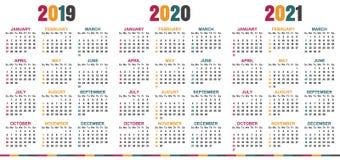 Calendario inglese 2019-2021 Illustrazione di Stock