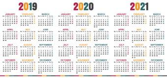 Calendario inglese 2019-2021 Royalty Illustrazione gratis