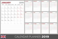 Calendario inglese 2019 Royalty Illustrazione gratis