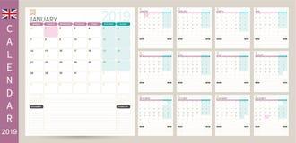 Calendario inglese 2019 illustrazione di stock