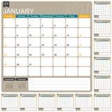 Calendario inglese 2017 royalty illustrazione gratis