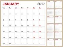 Calendario inglese 2017 Illustrazione di Stock