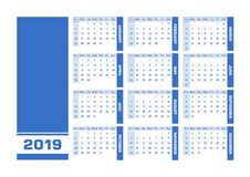 Calendario inglese 2019 blu royalty illustrazione gratis