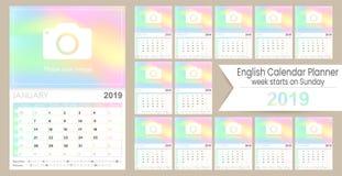 Calendario inglese 2019 di pianificazione illustrazione di stock