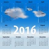Calendario inglese per 2016 anni con le nuvole Fotografia Stock