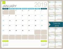 Calendario inglese per l'anno 2019 illustrazione di stock