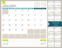 Calendario inglese per l'anno 2019 illustrazione vettoriale