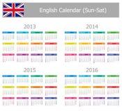 Calendario inglés 2013-2016 del tipo 1 Sun-Sat Fotos de archivo libres de regalías
