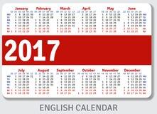 Calendario inglés del bolsillo para 2017 Imagenes de archivo