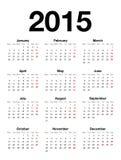 Calendario inglés para 2015 Imagenes de archivo