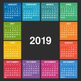 Calendario 2019 Inizio di settimana il lunedì illustrazione di stock