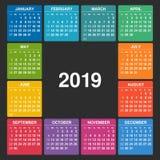 Calendario 2019 Inizio di settimana la domenica illustrazione di stock