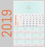 Calendario 2019 Insieme variopinto Inizio di settimana la domenica fotografie stock libere da diritti